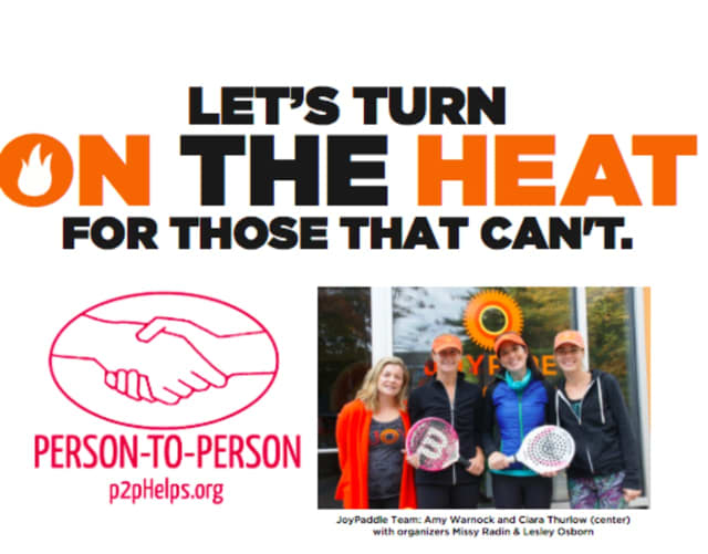 """JoyRide Darien is hosting a special fundraising HOT ride """"Let's Turn on the Heat,"""" Tuesday, Oct. 27 at 10:45 a.m. in support of P2P's emergency assistance that prevents utility shut offs and keeps families warm during cold winter months."""