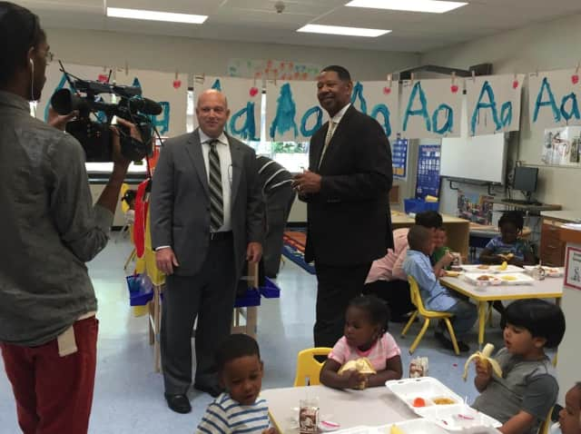 Mount Vernon Superintendent of Schools Kenneth Hamilton (here filming a video for the district) announced a partnership with the Food Bank for Westchester to ensure no child goes hungry.