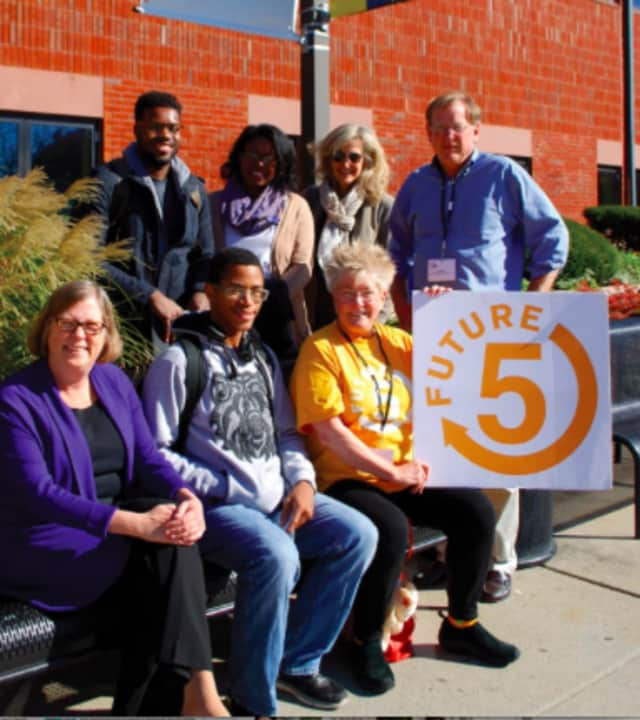 Front row: Ann Rogers, executive director, NCC Foundation, Future 5 student Trevon, Future 5 coach Martha Cook. Back row: F5 students Stanley and Michelle, Future 5 coach Julie Horowitz, and Future 5 founder & executive director Clif McFeely.