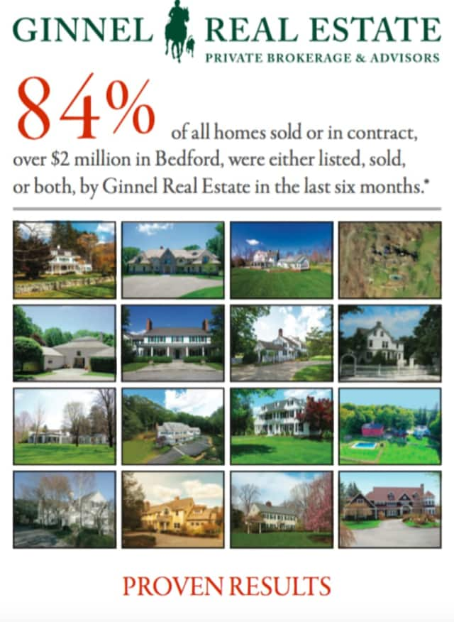 Ginnel Real Estate has sold 84 percent of homes in Bedford listed for more than $2 million in the past six months.