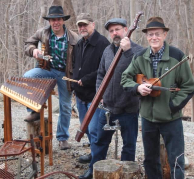 """'Old Time"""" Traditional Folk Music returns to downtown Stamford as the Bedlam Brothers String Band play."""