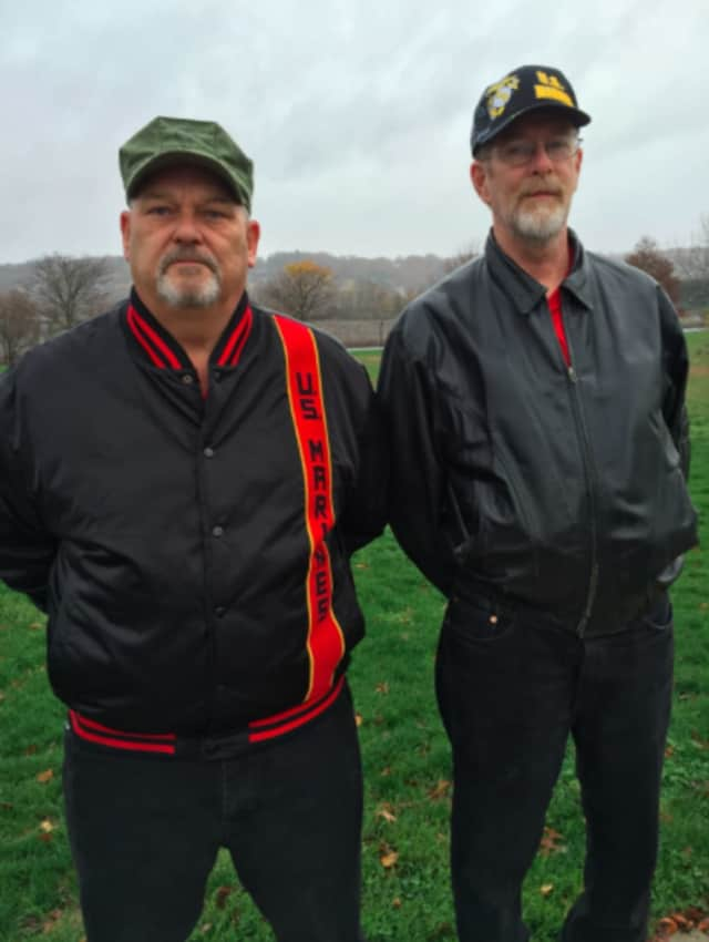George French, left, and George Gutman, both former Marines attended the Veterans Day service in Shelton on Wednesday.