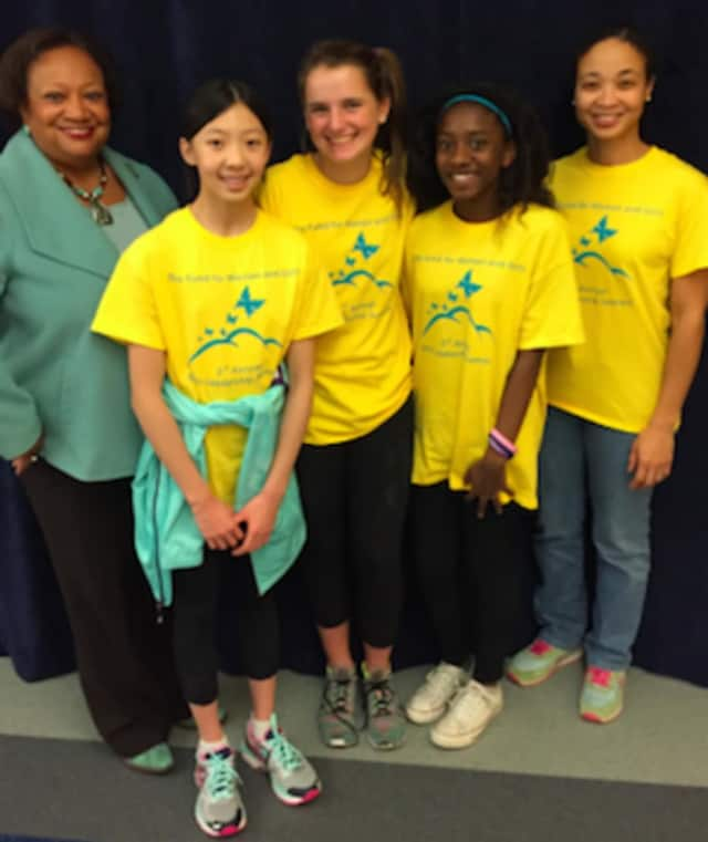 From left: Juanita James CEO/President of Community Foundation; Greenwich Academy students Ashley Hu, (Scarsdale, N.Y.) and Schuyler Sargeant (Greenwich); Zakiya Gray (Bridgeport) and Tricia Hyacinth, manager of Fund for Women and Girls.