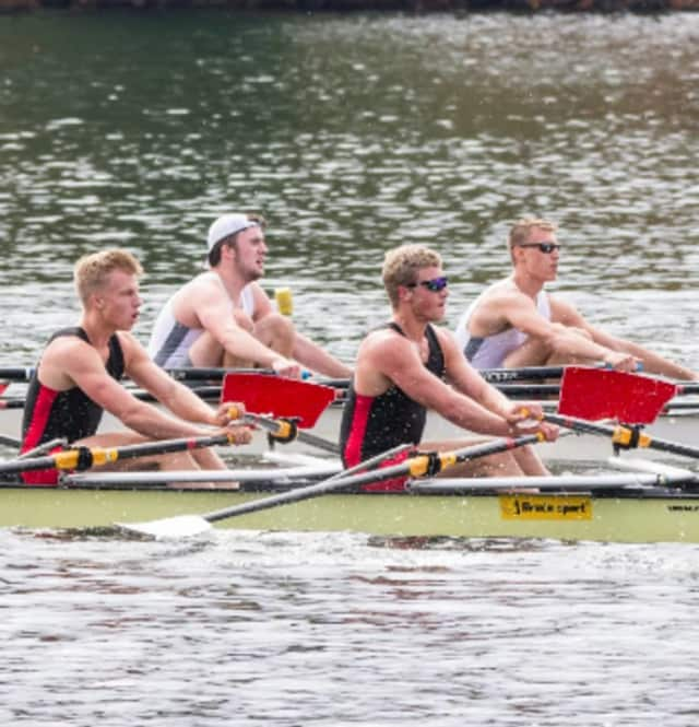 Joel Barlow High School senior Aidan Bridwell, seated second from right with his teammates, continues to rack up the gold medals at local regattas.