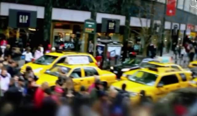 The video shows old footage released in April, including scenes of Times Square and Herald Square.