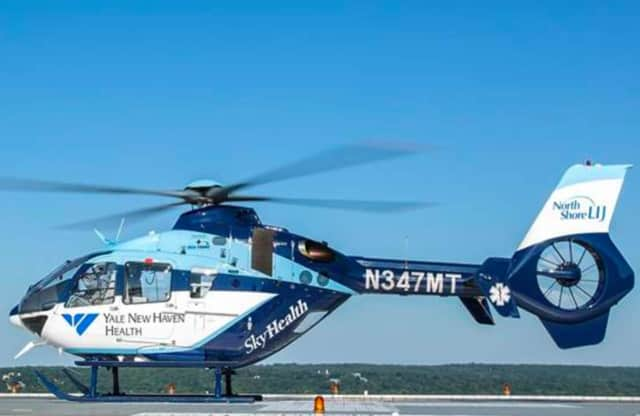 Yale New Haven Hospital's 'SkyHealth' helicopter will be landing at Boothe Memorial Park in Stratford for a training exercise on Wednesday.
