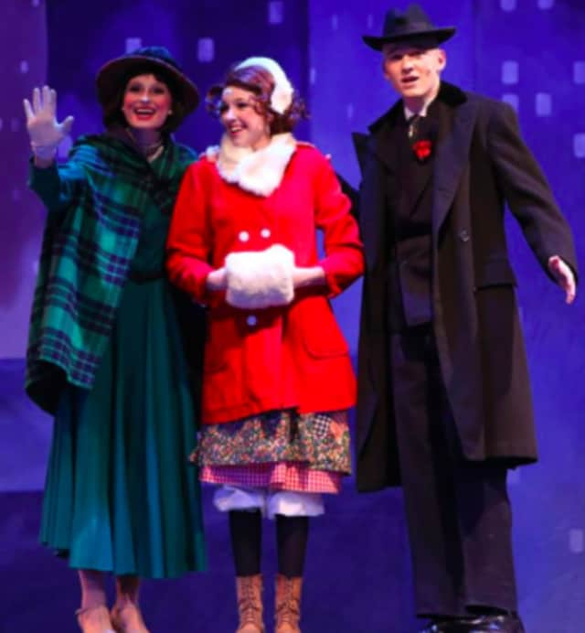 """Pictured in photo: Grace Rucci, Sadie Seelert, Shafer Jones. The underclassmen of the New Canaan High School Theatre department recently presented the production of """"Annie Jr."""" to nearly sold out audiences for all three performances."""
