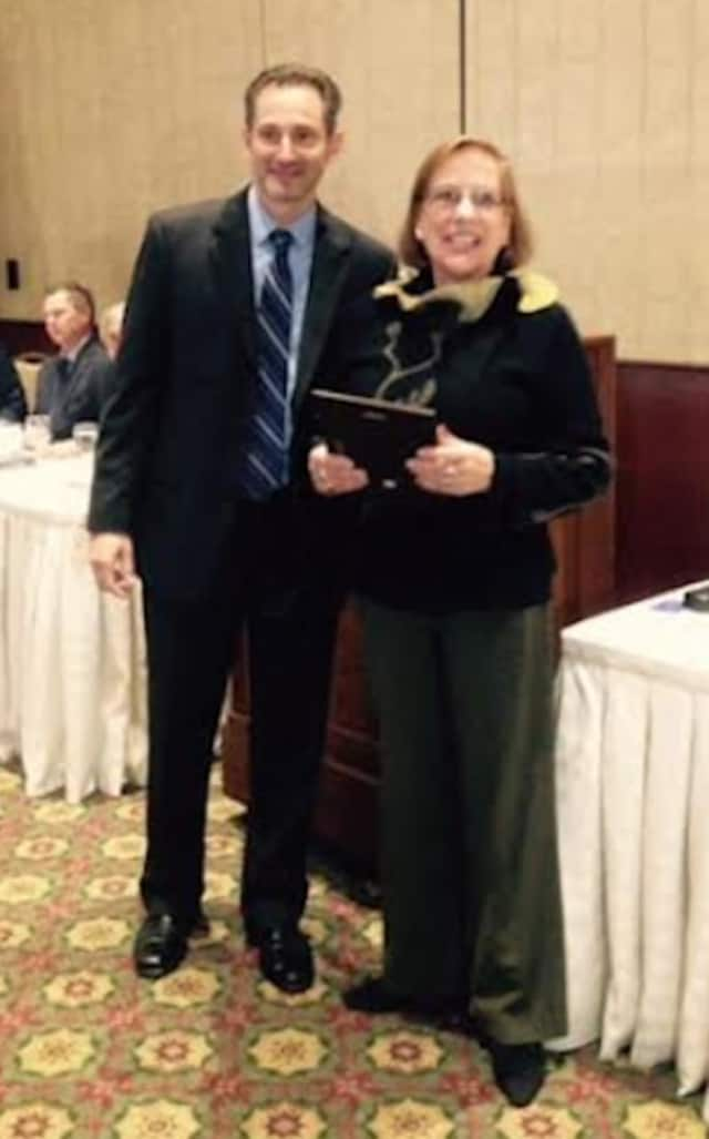 Merrily Eisnitz, right, a Realtor with Berkshire Hathaway HomeServices New England Properties, was named the Stamford Realtor of the Year by the Stamford Board of Realtors. She is with John Pellegrino, President, Stamford Board of Realtors.