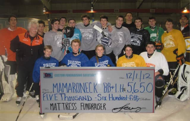 Mamaroneck's High hockey team after its 2012 mattress fundraiser.