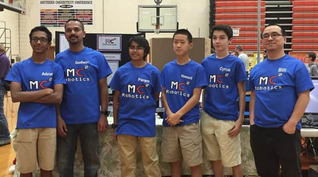 The Trumbull students, who compete as team mc² Robotics.
