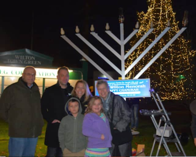 More than 100 people gathered for the Annual Wilton Community Menorah on the First Night of Chanukah