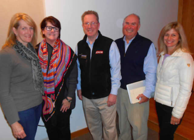 Participating in the event were: Carolyn McGoldrick, National Charity League president; Irene Spruck, vice president of the league's patronesses; Doug Richardson and Brent Haney, Competitive Edge College Advisors; and Shelley Vogel, Charity League.