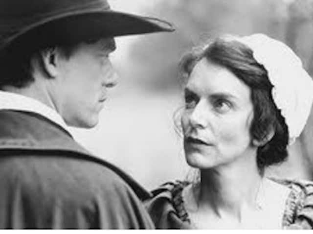 """Richard Donat and Nancy Palk in a scene from the movie """"Mary Silliman's War."""""""