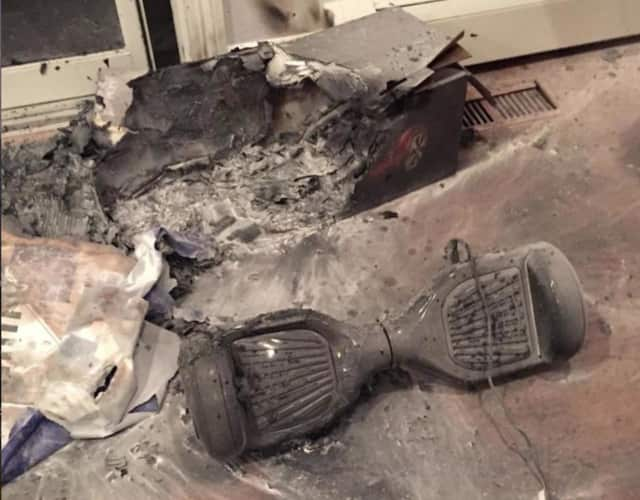 The aftermath of a hoverboard fire at a home in Chappaqua.