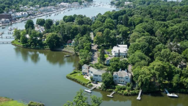 An aerial view of the coastline of Darien.