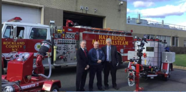 Rockland County Executive Ed Day joined Office of Fire and Emergency Services Director Gordon Wren and Assistant Director Dan Greeley to view the county's newest firefighting tools for fuel-based fires.