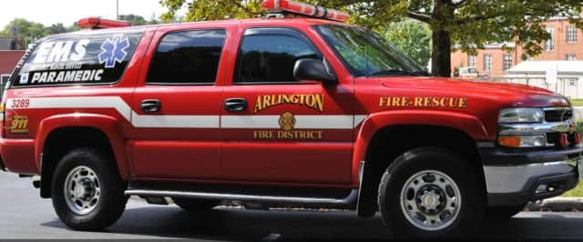 Arlington Fire District firefighters rescued a man who fell from the roof of a home he was working on receiving serious injuries.