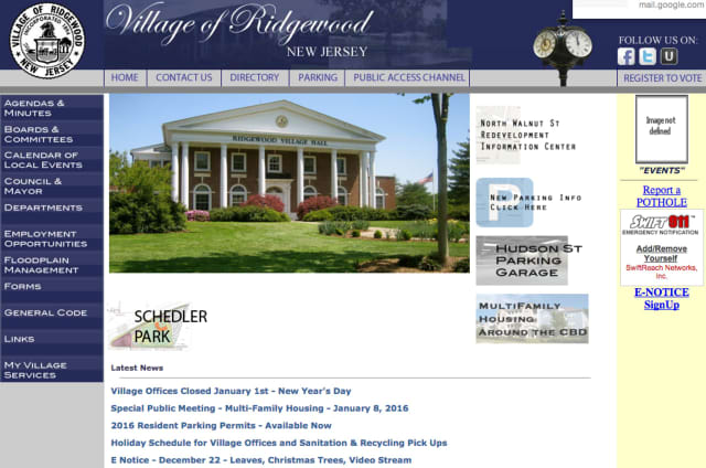 The village of Ridgewood has launched a new website.
