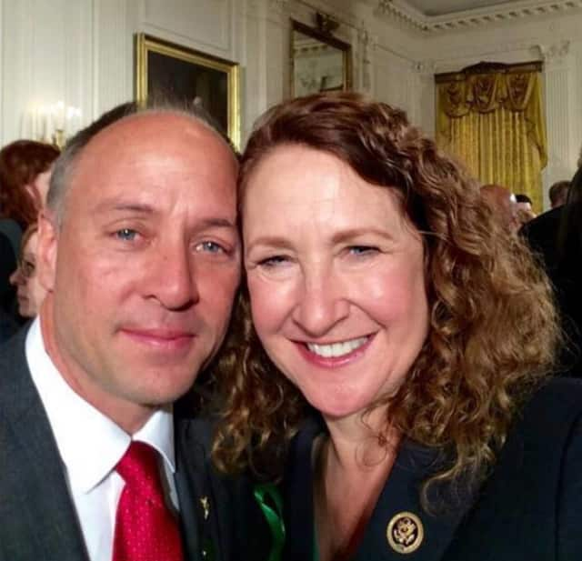 Mark Barden of Newtown and U.S. Rep. Elizabeth Esty at the White House for President Barack Obama's announcement Tuesday on gun control measures.