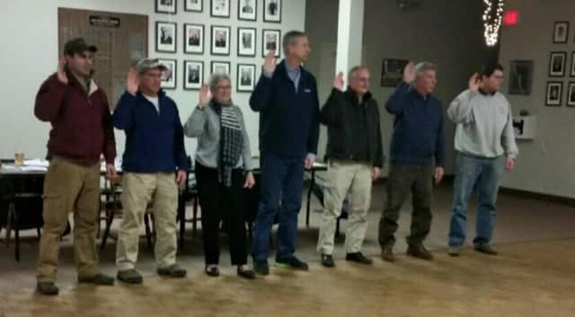 Easton Volunteer Fire Department officers are sworn in at the Jan. 4 ceremony.