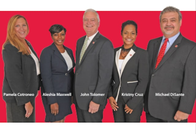 John Tolomer, President and CEO of The Westchester Bank, joins his Mamaroneck team of (left to right) Pamela Cotroneo, Aleshia Maxwell, Kristny Cruz and Michael DiSante.