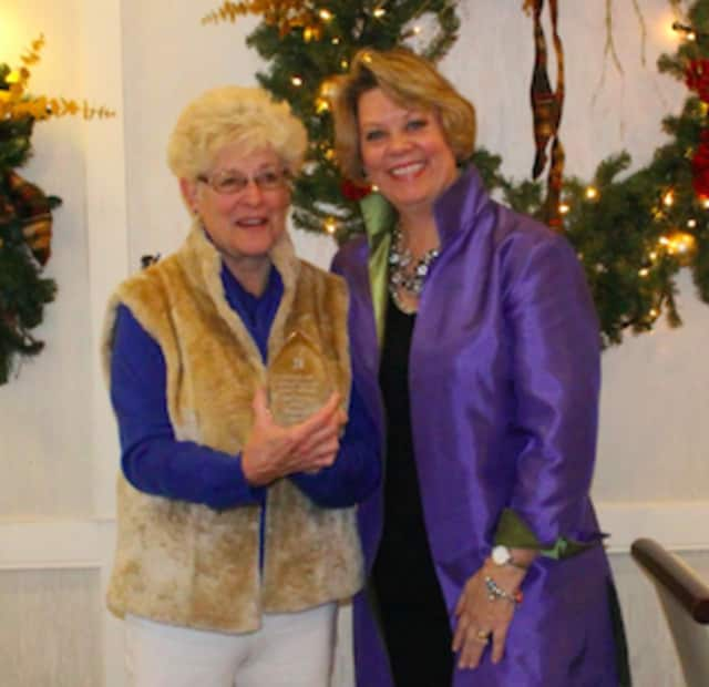 """Margaret C. """"Peggy"""" Jay, left, schmoozes with Arlene Bubbico, president of the New Canaan Board of Realtors 2014-2015. Jay has just been named 2015 Realtor Citizen of the Year."""