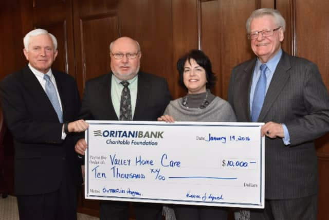 Valley Hospital Foundation Trustee Peter Marron, Michael A. DeBernardi,Executive VP, COO of Oritani Bank, Rose Marie Ranuro, RN, MSN, the Director of Clinical Services within Valley Home Care, and Valley Hospital Foundation Trustee Joseph Pfeiffer.