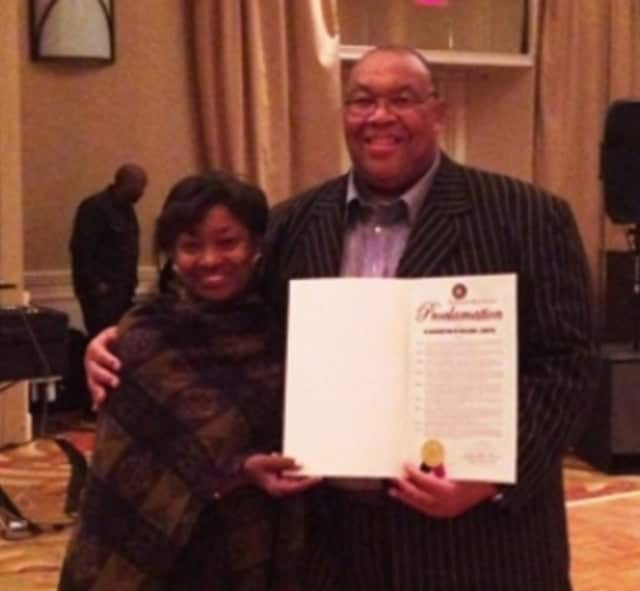 Bill Carter with State Sen. Andrea Stewart-Cousins in 2014.