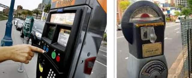 New multi-space automated parking meters, left, were activated by the Village of Mamaroneck in various municipal lots on Thursday, replacing traditional coin meters show at right.