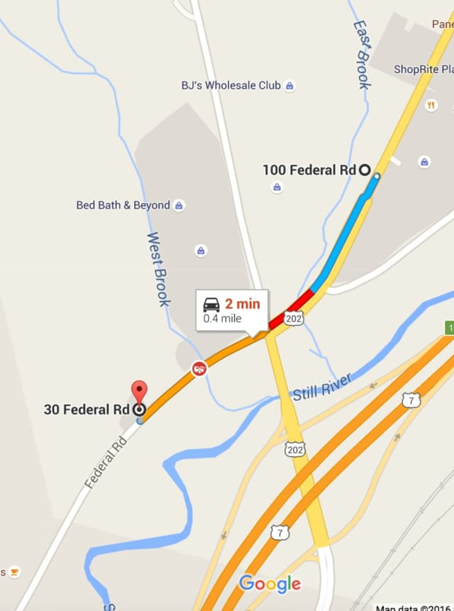 The two crashes at 30 and 106 Federal Road in Brookfield are less than a half-mile apart.