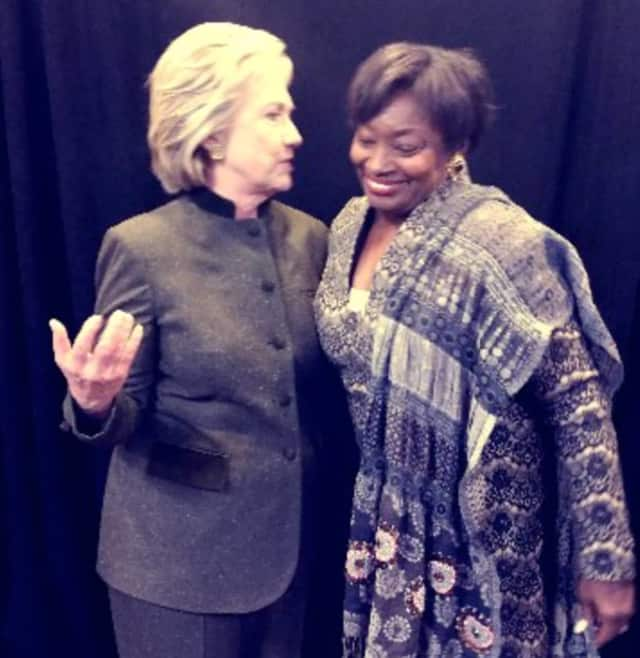 Hillary Clinton of Chappaqua with State Sen. Andrea Stewart-Cousins of Yonkers.