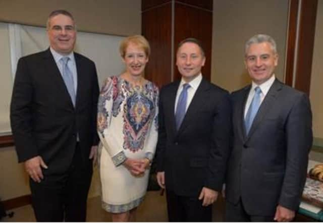 John Ravitz, Business Council of Westchester executive vice president and chief operating officer; BCW President and CEO Marsha Gordon; County Executive Rob Astorino; and BCW Chairman Anthony Justic.