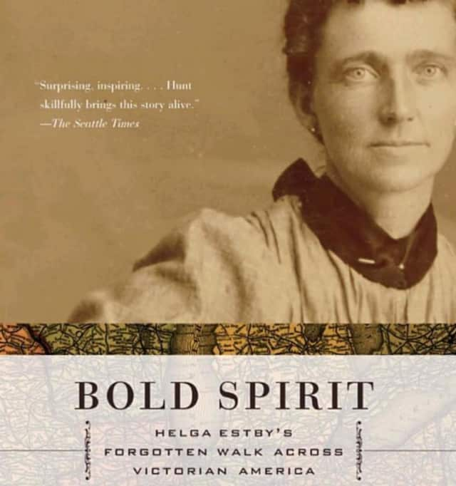 "Book cover of ""Bold Spirit Helga Estby's Forgotten Walk Across Victorian America"" by Linda Lawrence Hunt."
