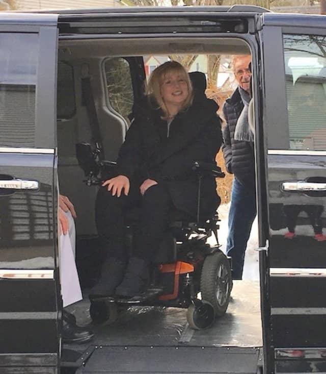 Lesley Ellis Linker goes for a spin in her new handicapped-accessible van.