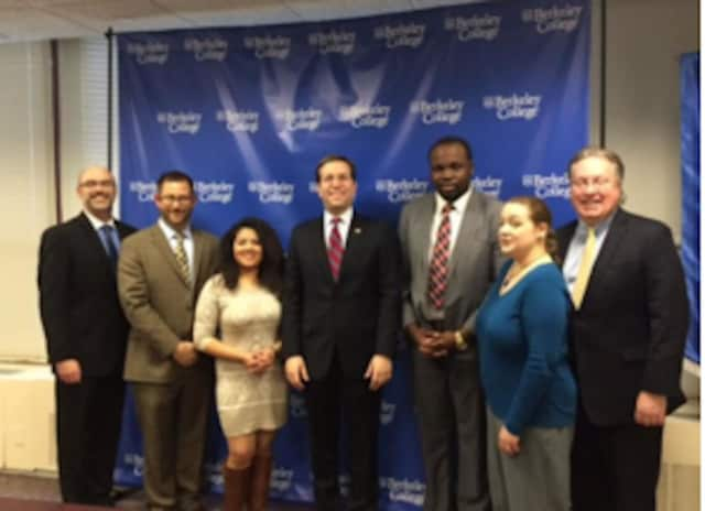 New York State Assemblyman David Buchwald recently visited Berkeley College in White Plains. See story for IDs.