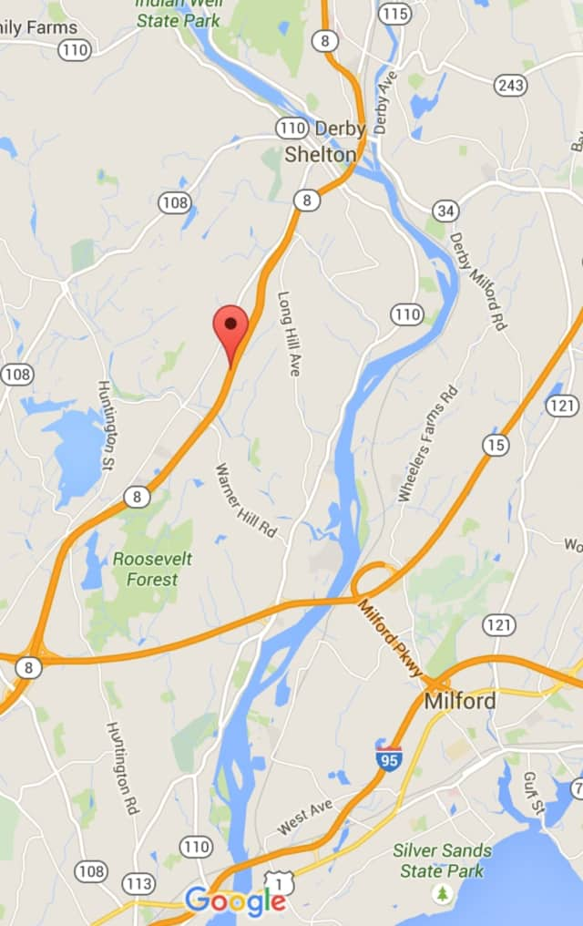 Traffic jams are reported Wednesday afternoon along northbound Route 8 from the Merritt Parkway up to Shelton.