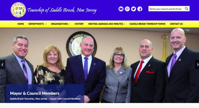 The updated look of the homepage of the Saddle Brook municipal website.