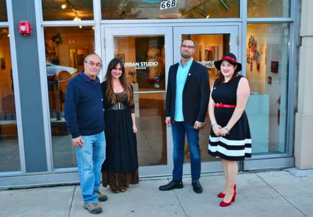 (L) Richard Pitts (board president), Melissa Starke (curator/asst director), Roddy Wildeman (director) and PT gallery volunteer Sara Fasano in front of the gallery.