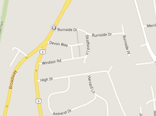 A tree and power lines were blocking Burnside Drive from Devon Way to Washington Street.