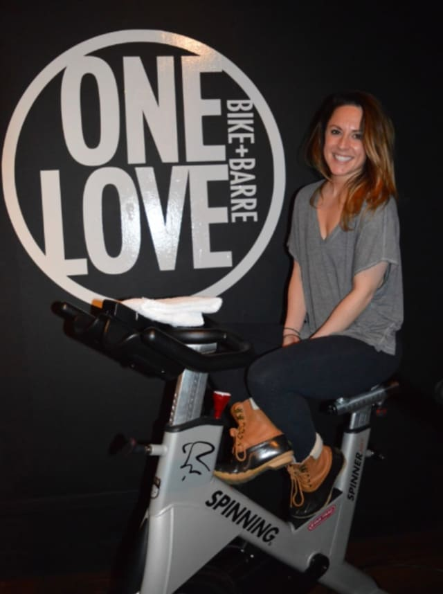 Jenny Nunn of Ridgewood's One Love Bike and Barre is spinning for Team Ellie Bean in Cycle For Survival.