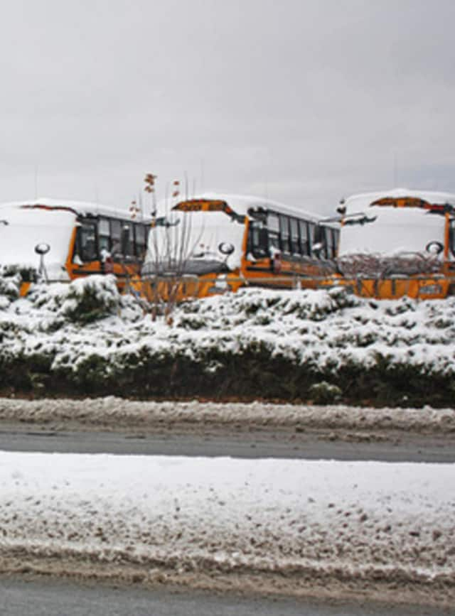 School buses in the snow.