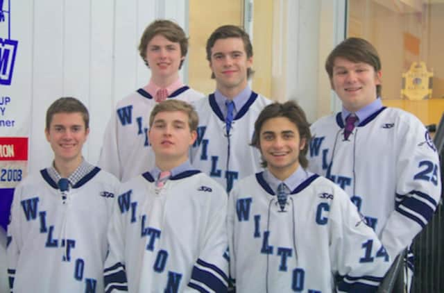 Front row, from left: Preston Turk, Harrison Koch (assistant captain), Jake Tucker (captain). Back row, from left: Derek Thomas, Henry Hovland (captain) and Conor Kilmartin.