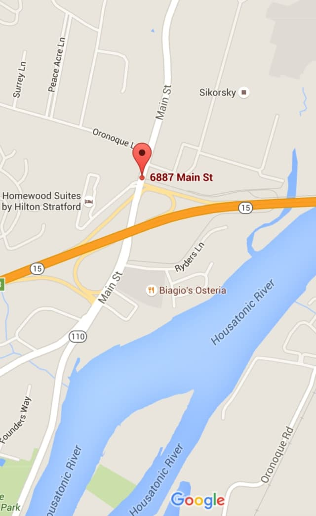 A portion of the roadway collapsed on Main Street in Stratford near the Merritt Parkway onramp.