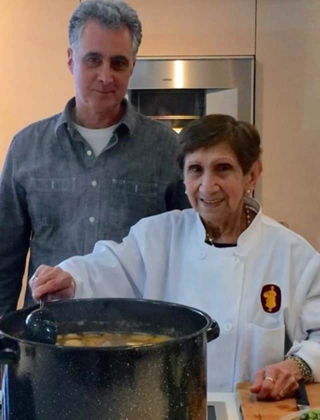 John Aramian of Ridgewood with a cook he featured on Peasant Chef TV.