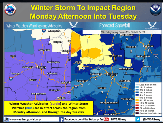 Snow is expected to arrive in the area late Monday afternoon before a changeover to rain early Tuesday morning.