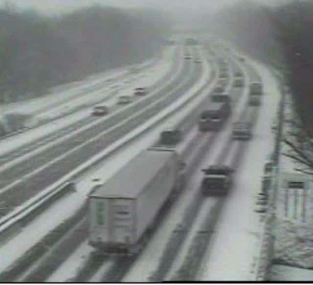 A look at conditions on I-95 at 4 p.m., just south of the scene of a pair of mid-afternoon accidents.