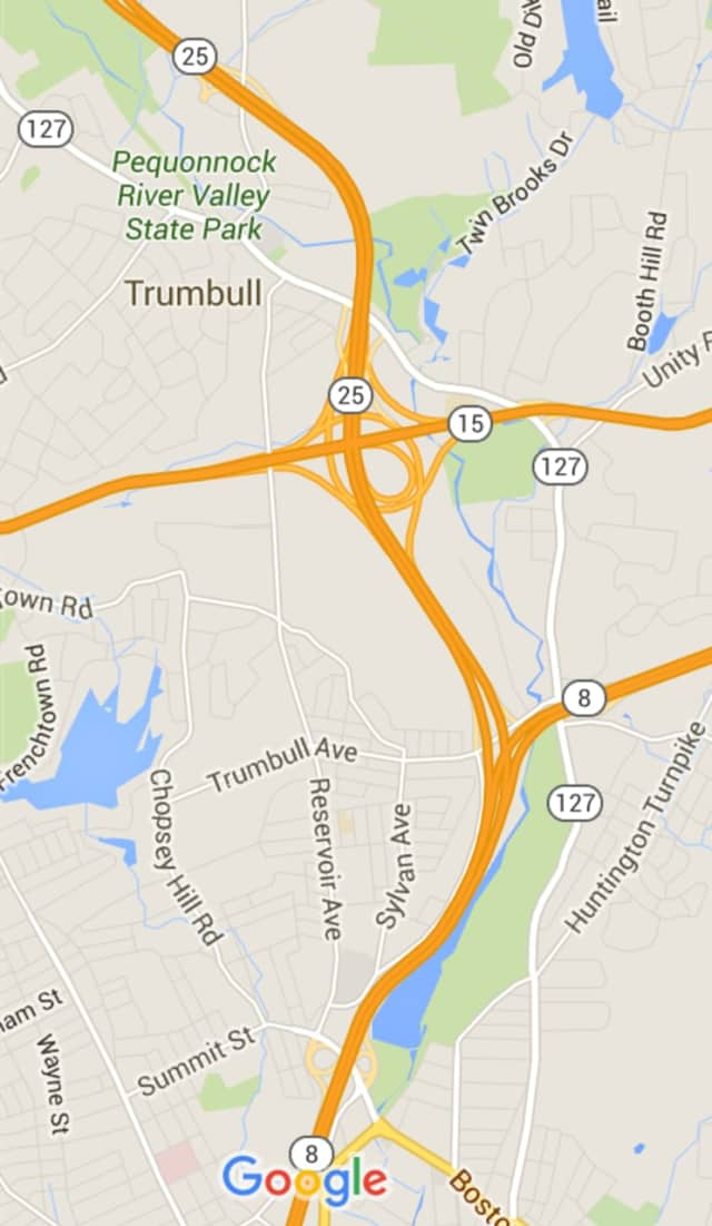 The accident occurred on a ramp from the Merritt onto Route 25 in Trumbull.