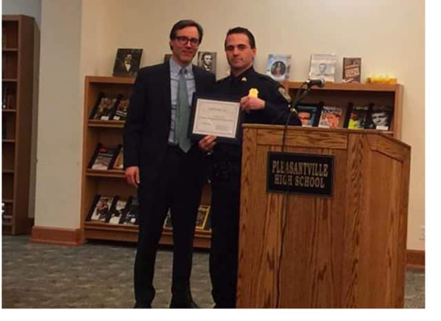 On behalf of the Pleasantville Police Benevolent Association, Sgt. Sam Caccamise presented the district with Cop Sync 911, real-time schools/police department emergency notification software.