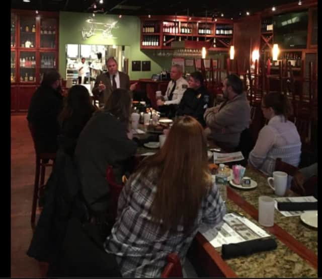 The Clarkstown Police Department attended the retail action committee meeting at the Shops of Nanuet to give training on counterfeit currency and fraud to shop managers.