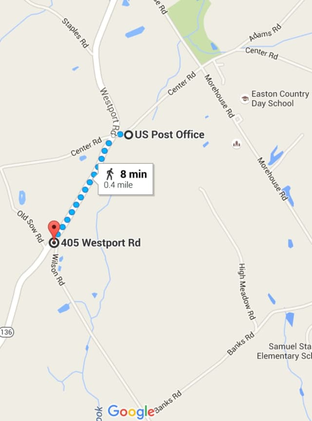 Route 136 is closed in Easton in the vicinity of the Post Office on Tuesday evening.